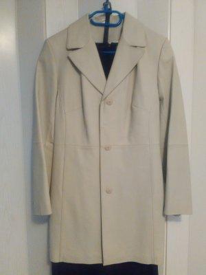 Abrigo corto beige claro-crema Cuero