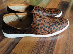 Leder Leopard Slip ons