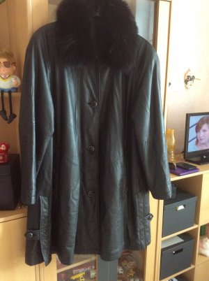 Leder Mantel mit Echte Pelz Kragen.Gr.40