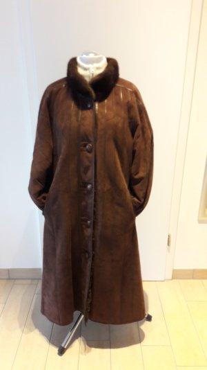 Leder Mantel mit Fell gefüttert ,Nerz Kragen und Manschetten