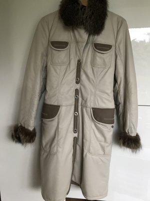 Abrigo de cuero blanco puro Cuero