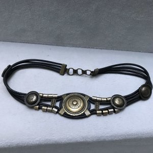 Leather Belt black-bronze-colored