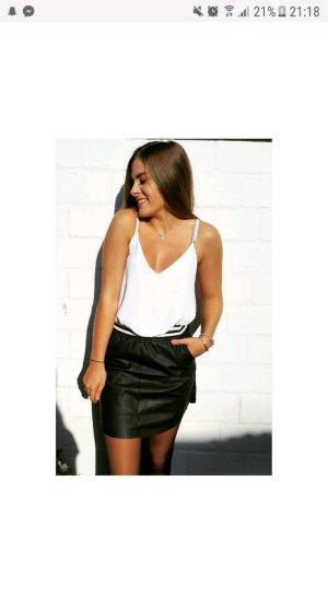 Leather Skirt black-white