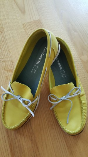 Moccasins lime yellow leather