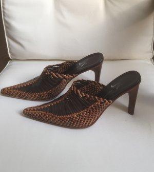 Heel Pantolettes brown-cognac-coloured