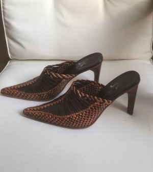 Heel Pantolettes brown-cognac-coloured