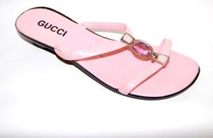 Leder - Pantolette * in rosa * von Gucci * Gr.38 * mit Schmucksteinen