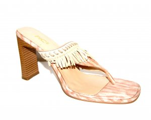Sandalo con tacco beige Finta pelle