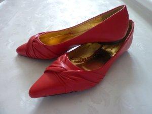 Leder Peep Toes Ballerina 38 rot