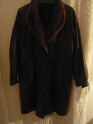 Leather Coat dark brown fur