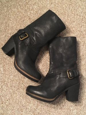 Bianco Platform Booties black leather