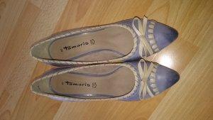 Leder Pumps blau beige von Tamaris Größe 41