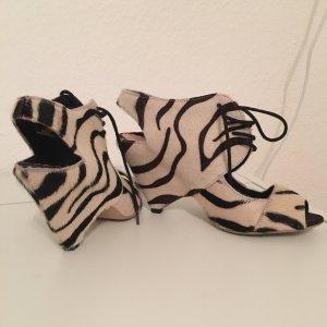 Leder Pumps in Zebra-Look