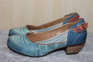 Escarpins Mary Jane bleu azur-bleu acier cuir