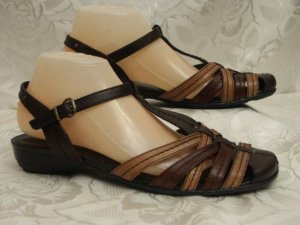 Jana Strapped High-Heeled Sandals brown leather