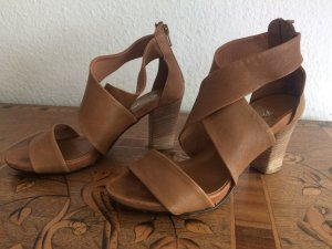 Strapped High-Heeled Sandals cognac-coloured
