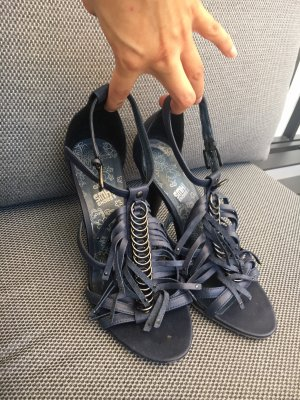 SMH Strapped High-Heeled Sandals dark blue