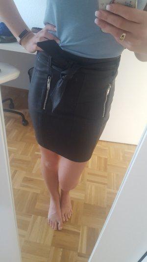Bershka Leather Skirt black polyurethane