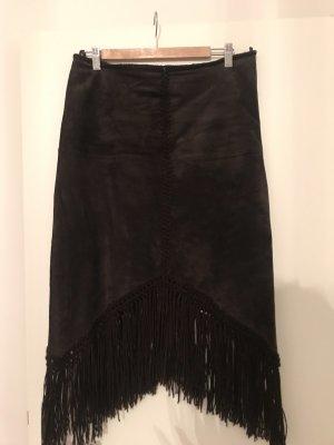 Hallhuber Falda de cuero marrón oscuro