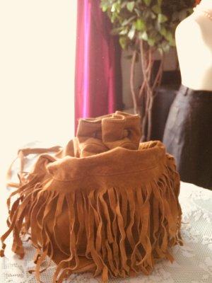 Fringed Bag brown-dark orange leather