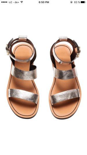 Leder sandalen Gold / Silber