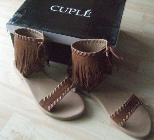 Cuplé Romeinse sandalen cognac Leer