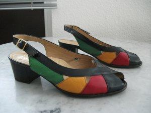 Leder Sandalen/Sandaletten von ara, Gr. 4 (37), blau-rot-grün-gelb,