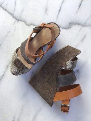 Zara Platform High-Heeled Sandal multicolored leather