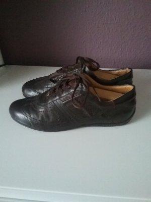 Leder Schnür Sneaker dunkelbraun