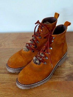 Leder Schuhe Cognac braun Fell 38 NEU