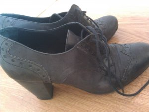 Leder Schuhe im Budapester Style Pumps grau-lila 40