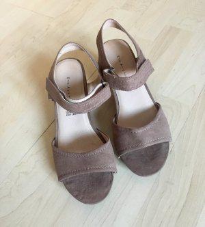 Leder Schuhe Keilabsatz Pumps Klettverschluss Frühling