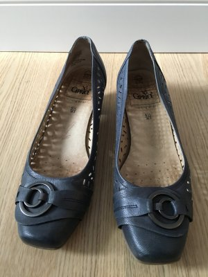 Caprice Business Shoes steel blue-silver-colored leather