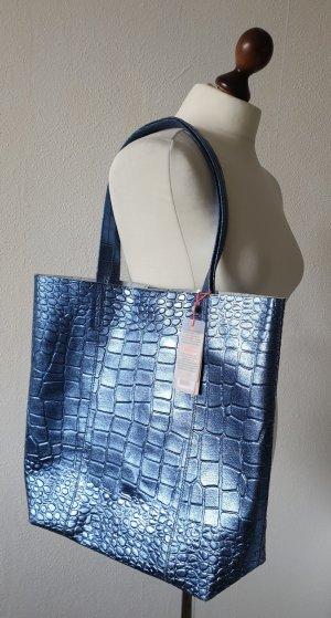 Leder-Shopper / Umhängetasche / Tasche von Becksöndergaard * metallic * blau * Kroko * Neu