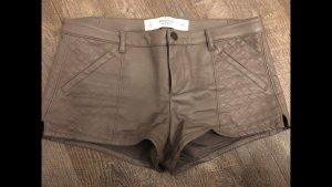 Abercrombie & Fitch Pantalone in pelle marrone chiaro-grigio Pelle