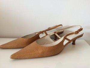 Leder-Slingpumps von spanischer Marke, nude, Gr.41 - nur 2 Mal getragen!
