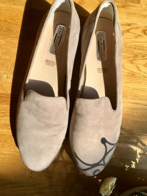 Leder Slipper, Beige, mit Silber-Metallic Zierelement, 5th Avenue Soft (40)