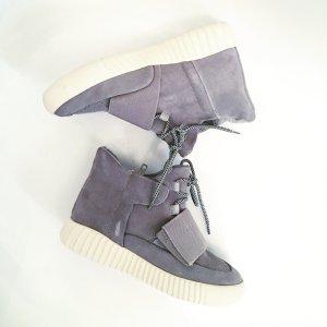 leder sneaker high / boots / wildleder / weisse sohle