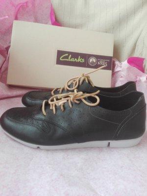 Leder Sneaker von CLARKS Gr.37 mit zweierlei Schnürung Black