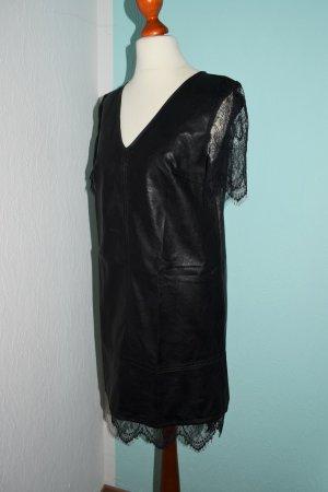 Leder & Spitze Kleid von Sisley Gr. XS 34