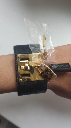 Bracelet black-gold-colored mixture fibre