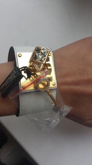 Bracelet white-gold-colored mixture fibre