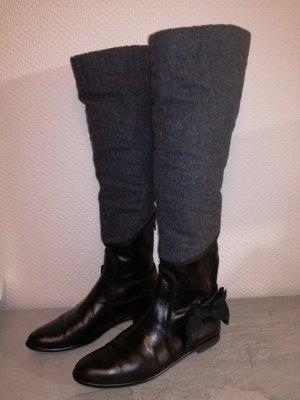 0039 Italy Hoge laarzen zwart-grijs Leer