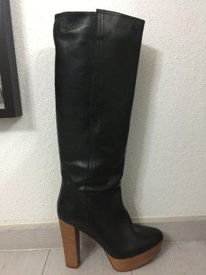 Zara Botas con plataforma negro-marrón Cuero