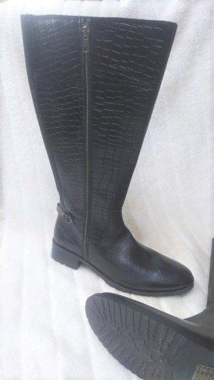 0039 Italy Botte haute noir cuir