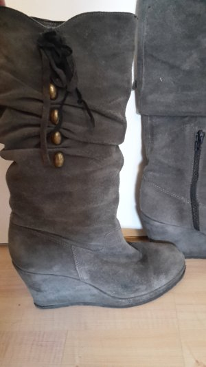 Tamaris Winter Boots grey-gold-colored leather