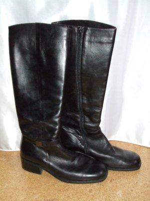 Leder-Stiefel schwarz kniehoch Marco Polo