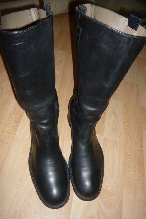 Leder Stiefel, schwarz  mit Reiter Look Gr. 40