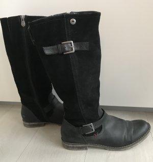 Leder Stiefel Tom Tailor Gr. 41 schwarz