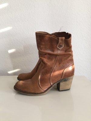 Leder Stiefelette Boots camelbraun Gr. 38